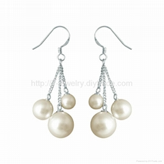 pearl drop earrings with sterling silver hook fashion jewelry