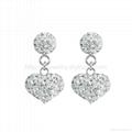 heart shaped 925 silver drop earrings