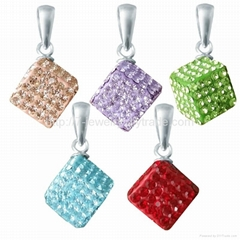fashion terling si  er pendant jewelry for necklace decorate with rhinestone