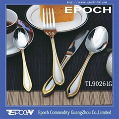 High grade stainless steel gold si  er cutlery