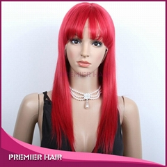 wholesale red brazilian hair full lace wig with bang