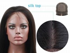 Virgin Brazilian Hair Glueless Silk Top Full Lace Wig