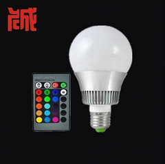 10W RGB led bulb lamp 16 color changes with remote controller  80mm diameter