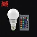 3W E27 RGB LED Light Bulb Lamp 24key Wireless Remote Controller Magic Lighting  1