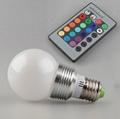 3W E27 RGB LED Light Bulb Lamp 24key Wireless Remote Controller Magic Lighting  2