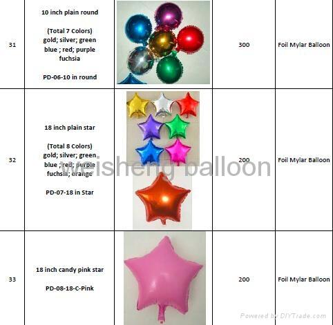 Various Plain & Solid Decoration Heliun Foil Mylar Balloons 2