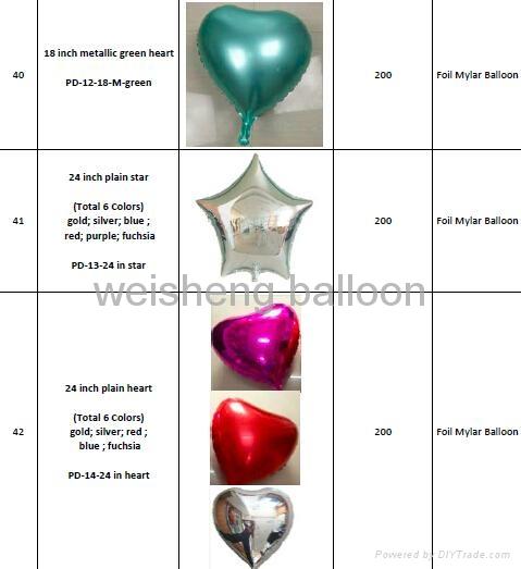 Various Plain & Solid Decoration Heliun Foil Mylar Balloons 4