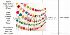 1 or 3 Layer Paper Garland + Letters Paper Garland Banner
