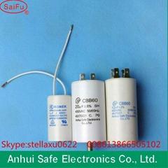 white plastic &auminum shell cbb60 cbb61 cbb65 cd60 series capacitor 5uf-100uf 2