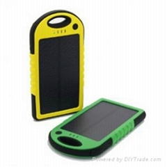 4000mAh Waterproof Solar power bank with dual USB port and LED light