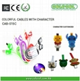 Lovely Cartoon Character LED Charging and Data Traferring Micro USB Cable