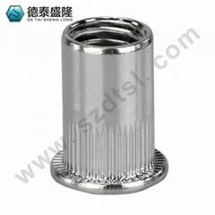 深圳供应平头竖纹拉铆螺母,不锈钢铆螺母,厂家直供质量保证