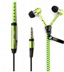 kltmobile Zipper earphone LED lighting headphone OEM factory wholesale
