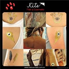 Cosmetic Standard Body Art Waterproof Custom Tattoo Stickers / Gold Tattoo
