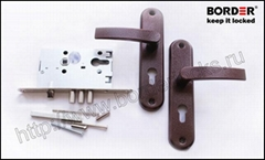 Mortise cylinder lock with a steel spring-latch and latch handles