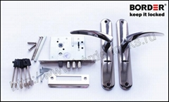 Mortise 8 lever lock with a steel spring-latch and latch handles