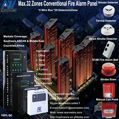 2-wire 24V 32-zone Conventional Fire Alarm System