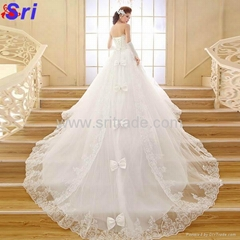 The Bride Wedding Dress 2015 New Arrival Long Trailing Strapless Lace With Backl