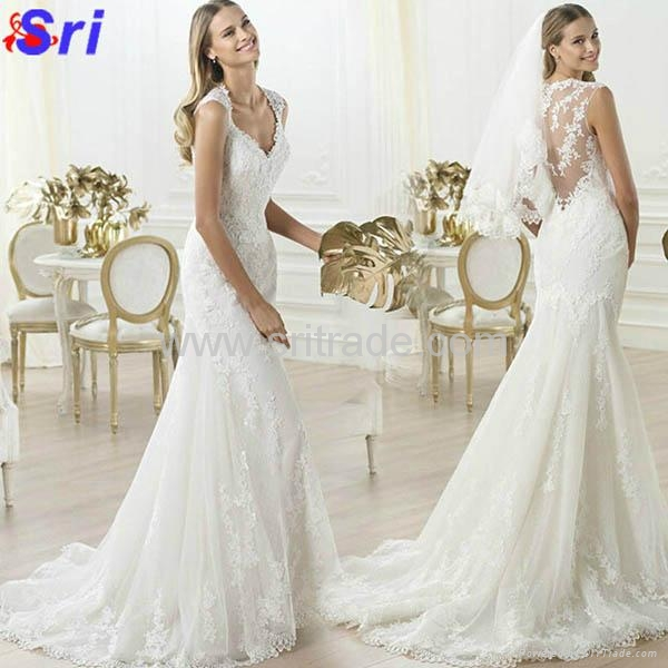 Fashion Wedding Dress Warmly Welcome White Wedding Dress 2015 Lace Hollow-out Ba 1