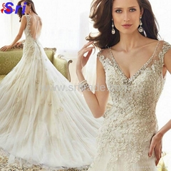 Dreamy Design 2015 Wedding Dresses Lace Mermaid Bridal Gowns V Neck Tank See Thr