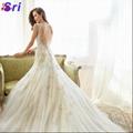 Dreamy Design 2015 Wedding Dresses Lace Mermaid Bridal Gowns V Neck Tank See Thr 2