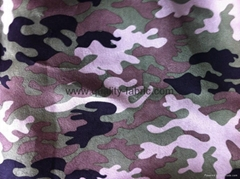 Polyester suede fabric camouflage printed