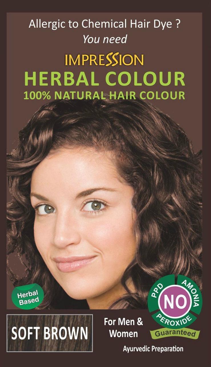 100% NATURAL HERBAL HAIR COLOUR - SOFT BROWN 1