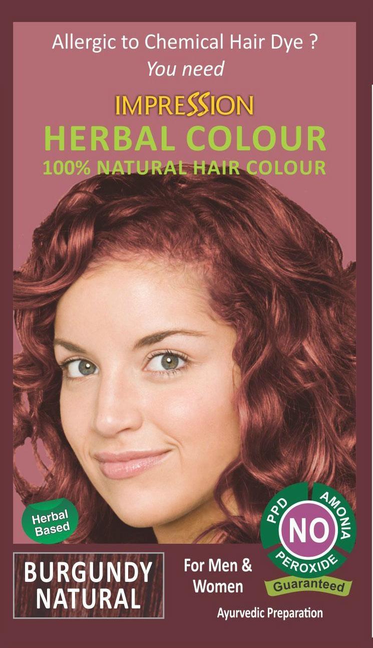 100% NATURAL HERBAL HAIR COLOUR - BURGUNDY NATURAL 1
