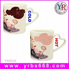 Custom Design Color Changing Mug with Heart Handle