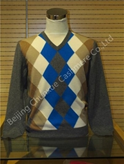 Lady Spring Fall Knitted 100% Cashmere Knitted Intarsia Diamond Pullover