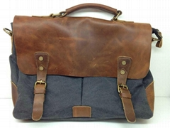Genuine Leather Messenger Handbag Recycled Canvas Lined Leather Tote Shoulder