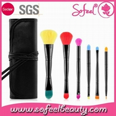 6pcs duo-end makeup brush set high quality cheap price