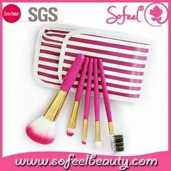 5pcs mini makeup brush set with leather pouch bag