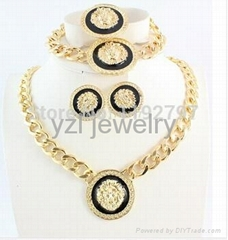 New Sexy Product Gold Plated Enameled Lion Head Necklace Earrings Ring Bracelet