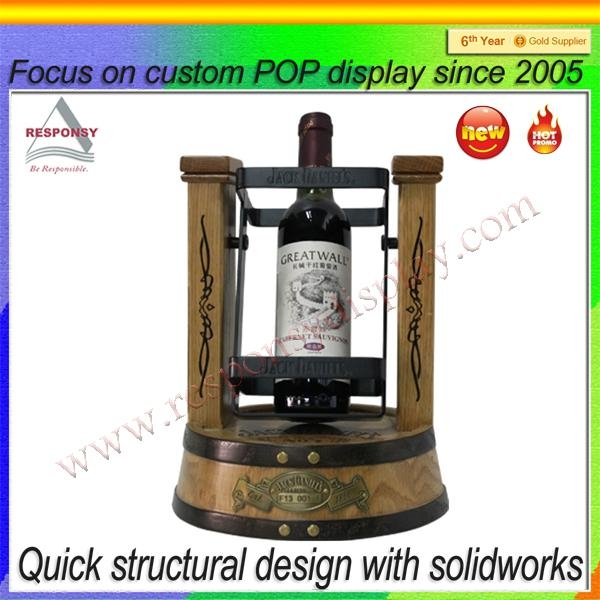 Customized OEM & ODM counter wooden wine bottle cradle display stand 1