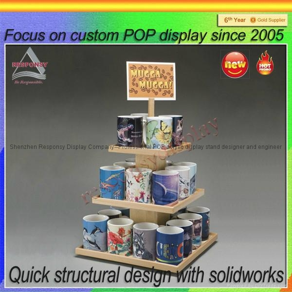 China factory Direct Supply Coffee Mug Cup Wooden Display Rack 1