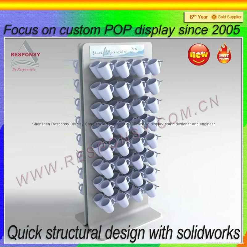 China Factory Direct Supply Coffee Mug Cup Wooden Display Rack Stunning Coffee Cup Display Stands