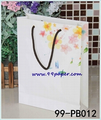 White kraft paper material shopping bag