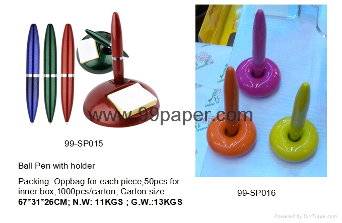 Ball point pen with holder