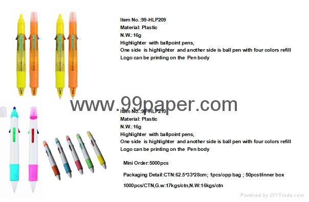 highlighter with ball pen