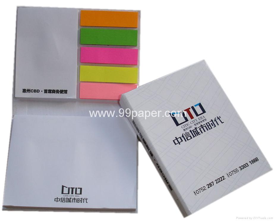 Sticky notes with neon paepr index