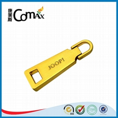 Luxury gold metal bag and clothing zipper puller with engraved logo