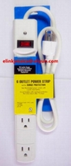 USA 6 Outlet Surge Protector Power Strip