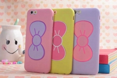New arrival Cute bowknot kickstand silicone cover case for iPhone 6
