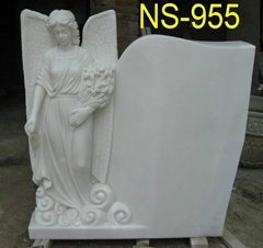 Natural stone carved angel statue headstone monument