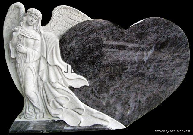 Granite Angel Heart : Granite angel with heart tombstones jlx china