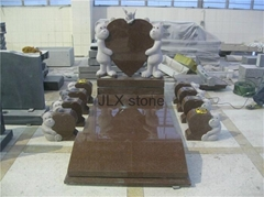 Children headstone with bear carving granite monument