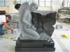 Angel headstone with heaet black granite headstone for European