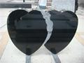 Double heart headstone black monument