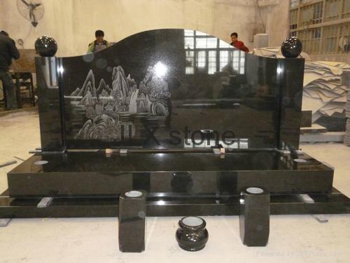 Australia Granite Headstone With Vase Monument For Grave Cemetery